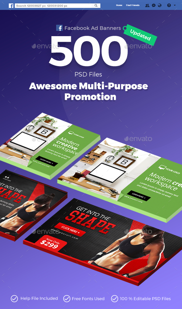 Facebook Ad Banners - 500 Files - UPDATED! - Social Media Web Elements