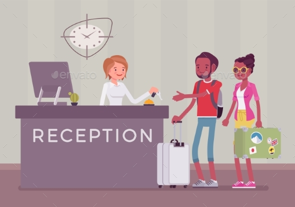 GraphicRiver Tourists at Reception in a Hotel 21163355