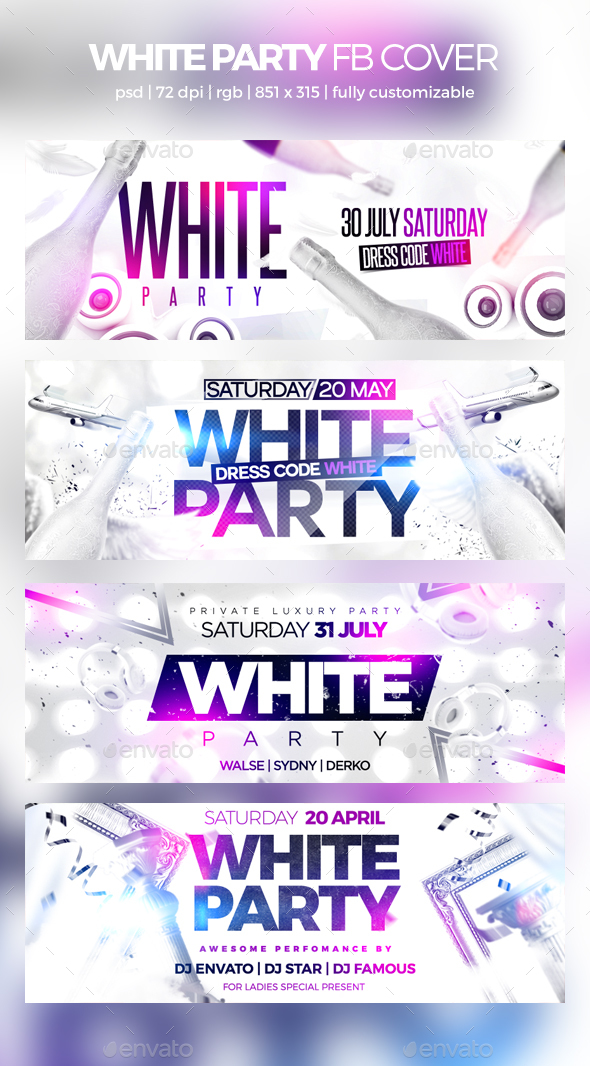 White Party Facebook Cover - Social Media Web Elements
