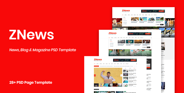 ZNews – News, Blog & Magazine PSD Template