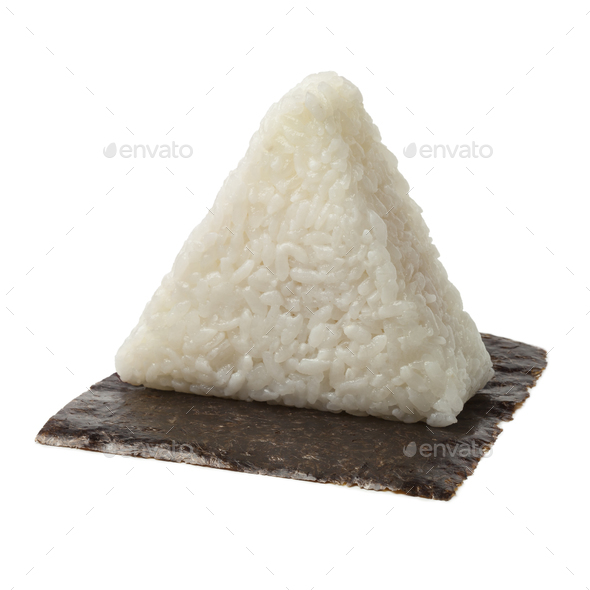 Fresh made Japanese triangular onigiri on seaweed - Stock Photo - Images