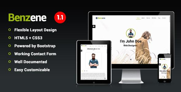 Benzene - Personal Portfolio Template - Personal Site Templates