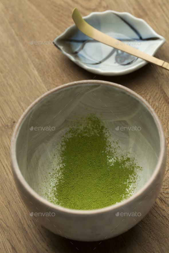 Preparing a bowl of matcha tea - Stock Photo - Images