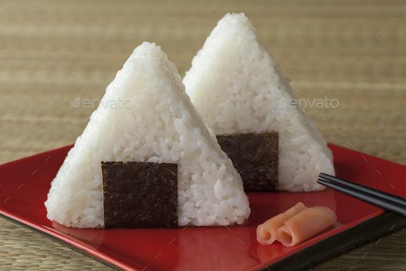 Fresh made Japanese triangular onigiri - Stock Photo - Images