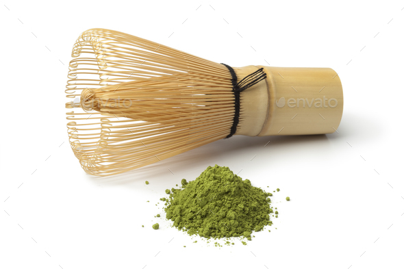 Heap of matcha tea and a whisk - Stock Photo - Images