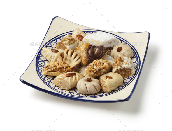 Dish with traditional variety of festive Moroccan cookies - Stock Photo - Images