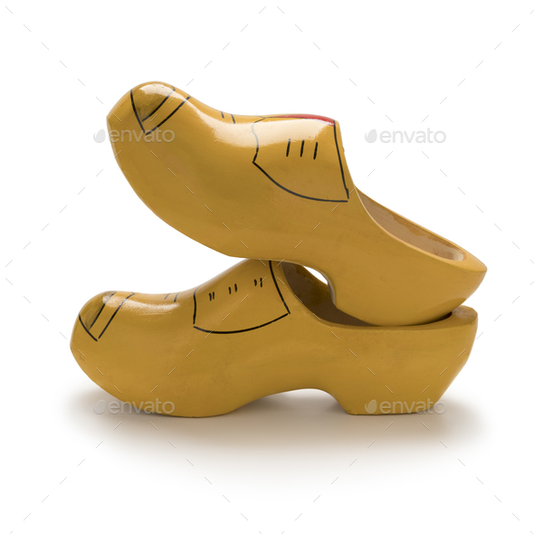 Traditional yellow Dutch wooden shoes - Stock Photo - Images