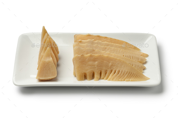 Simmered young bamboo shoots on a dish - Stock Photo - Images