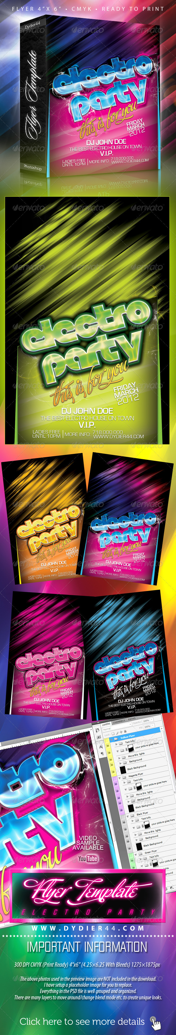 Electro Party (Flyer Template 4x6) - Clubs & Parties Events