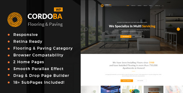 Cordoba : Paving Service WordPress Theme - Business Corporate