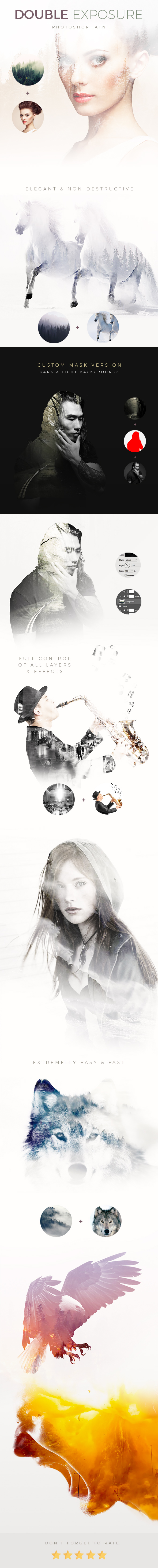 Elegant Double Exposure - Light & Dark Background - Photo Effects Actions