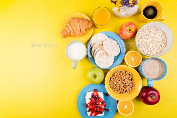 Healthy Breakfast. Various Assortment Set. Orange Juice, Granola, Croissant, Coffee and Fruit. - Stock Photo - Images
