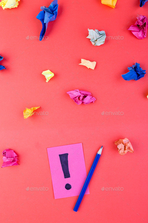 Concept in search ideas. Creased paper of idea. Falt lay - Stock Photo - Images
