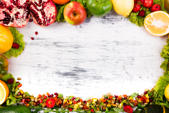 Fruits and vegetables frame. Copy space. Vegan. Clear food. - Stock Photo - Images