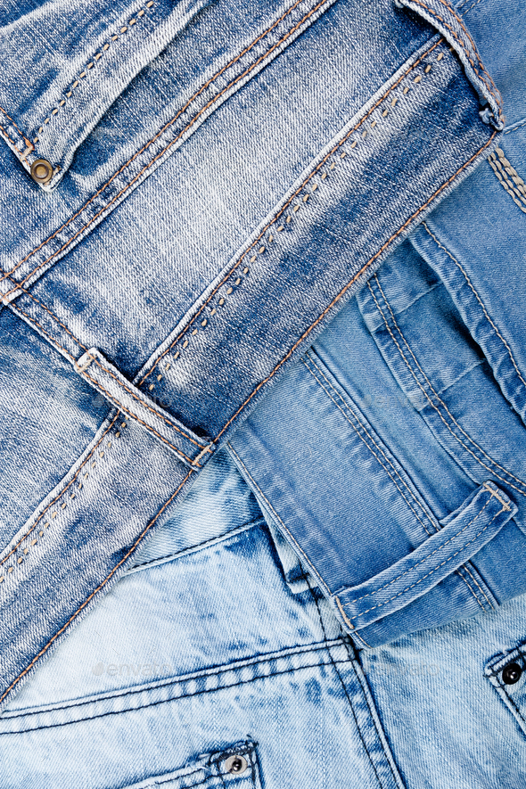 Jean background. Denim blue jean texture. Concept for fashion. Copy space. Frame . - Stock Photo - Images