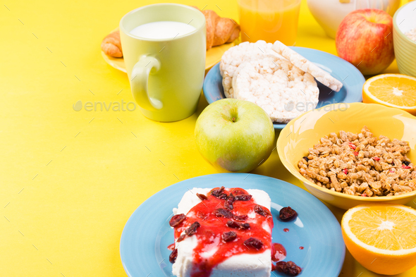 Healthy Breakfast. Various Assortment Set. Orange Juice, Granola, Croissant, Coffee and Fruit. - Stock Photo - Images