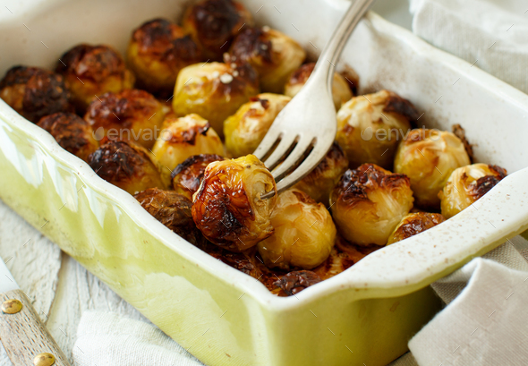 Roasted Brussel Sprouts in a casserole - Stock Photo - Images