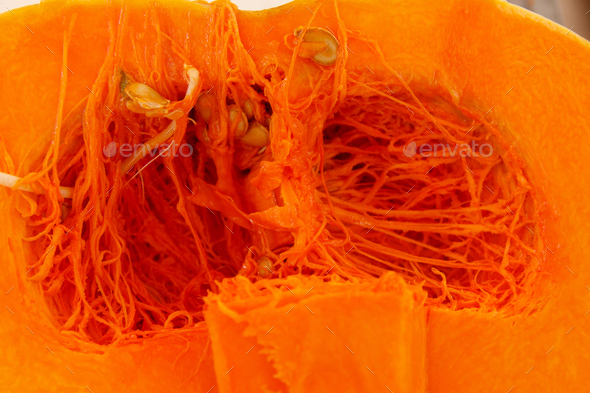 Opened pumpkin on a farmers market - Stock Photo - Images