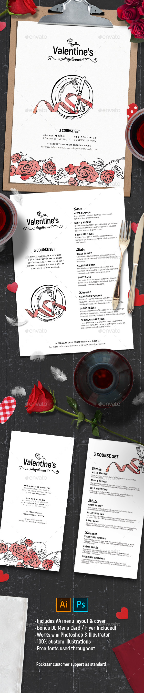 Valentines Menu Template - Food Menus Print Templates