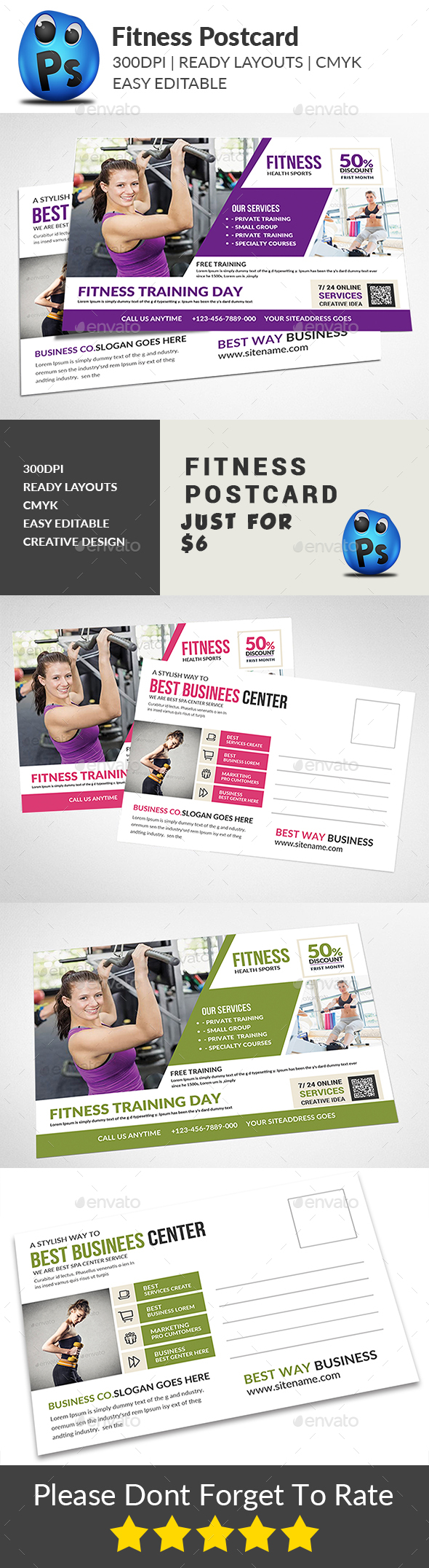 GraphicRiver Fitness Postcard 21164048