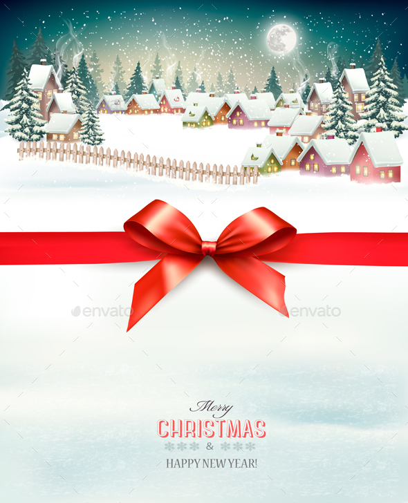 GraphicRiver Christmas Holiday Background with Winter Landscape 21164162