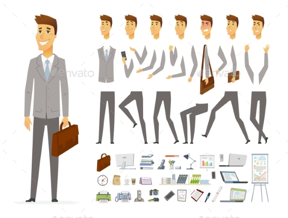 Businessman - Vector Cartoon People Character - People Characters