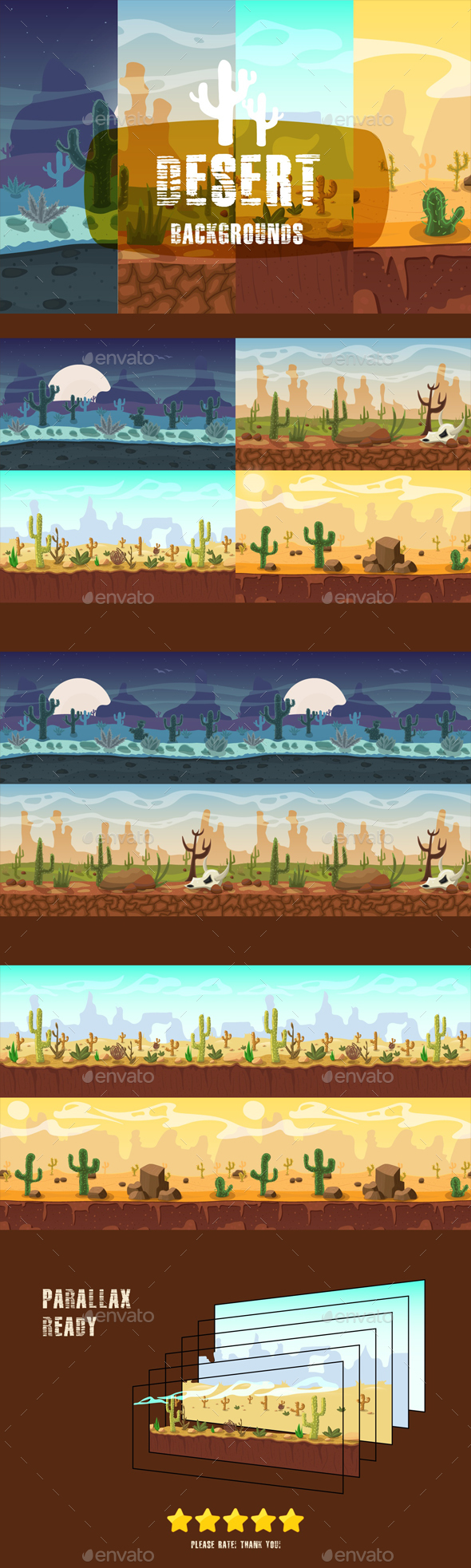 GraphicRiver Parallax Desert 2D Backgrounds 21164178
