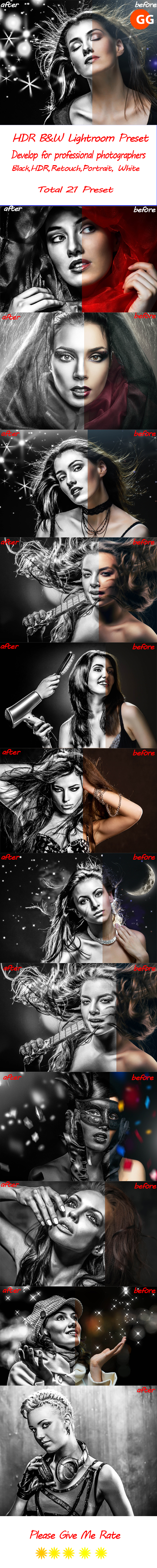 GraphicRiver 21 HDR B&W Lightroom Preset 21164213