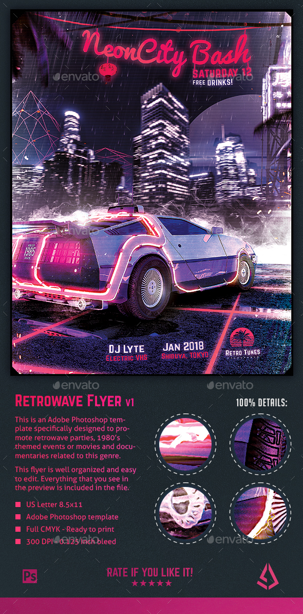 GraphicRiver Synthwave Flyer v1 Neon City Retrowave Poster Template 21164230