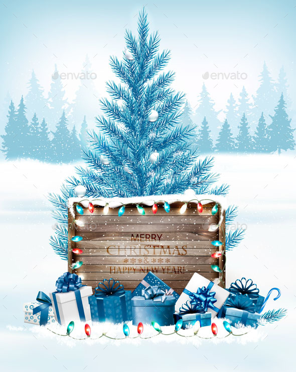 GraphicRiver Christmas Holiday Background with Presents and Wooden Board 21164237