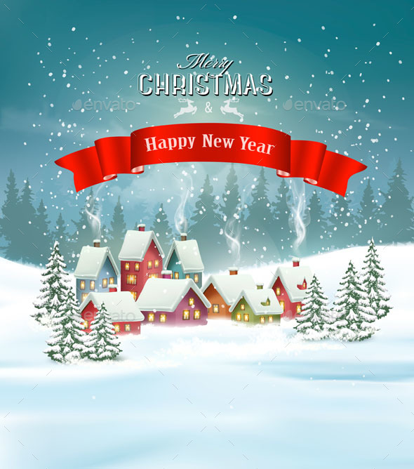 GraphicRiver Winter Village Christmas Holiday Background 21164247
