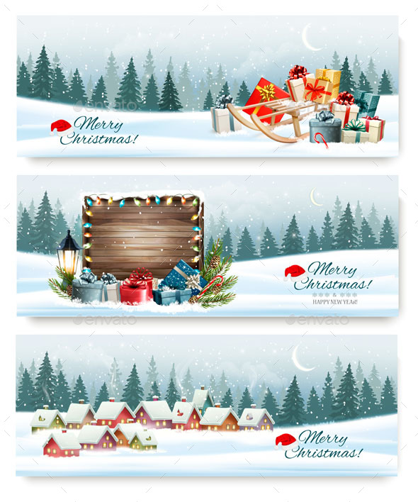 GraphicRiver Merry Christmas Banners with a Winter Village and Presents 21164256