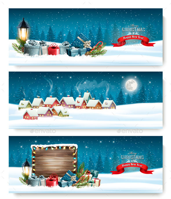 GraphicRiver Three Holiday Christmas Banners 21164285