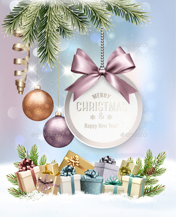 GraphicRiver Merry Christmas Banners with Branches Of Tree and Gift Box 21164297