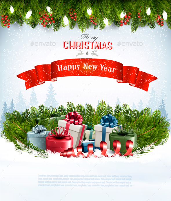 Merry Christmas Banners with Branches of Tree and Gifts - Christmas Seasons/Holidays
