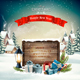Christmas Holiday Background With Presents and Wooden Board - GraphicRiver Item for Sale