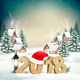 New Year Background with 2018 and Santa Hat