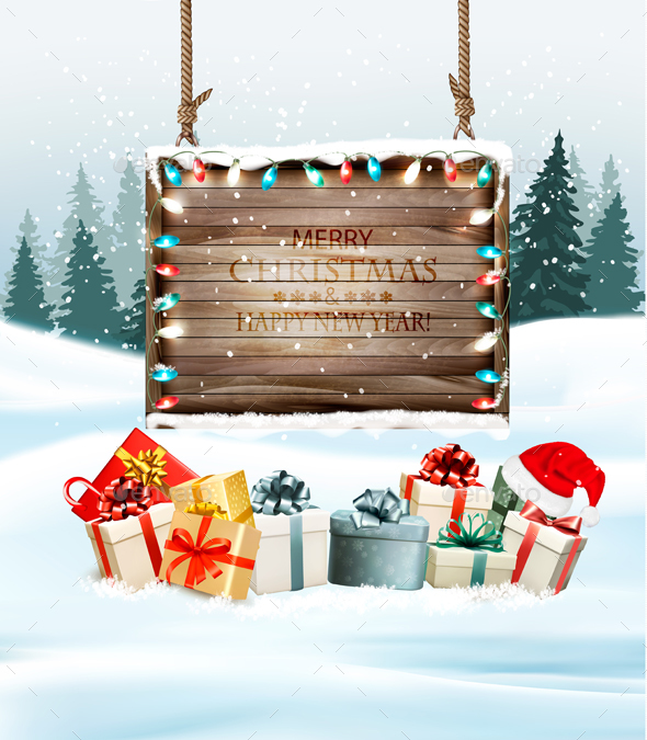 GraphicRiver Christmas Holiday Background with Presents and Wooden Board 21164391