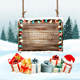 Christmas Holiday Background with Presents and Wooden Board