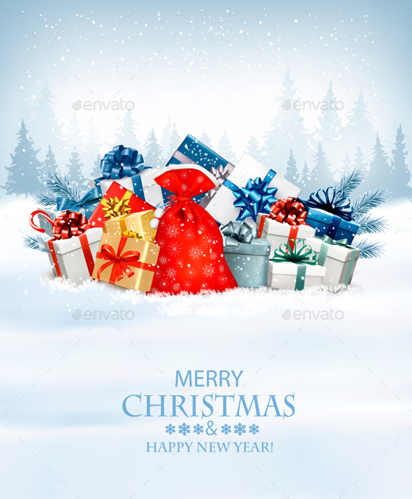 Holiday Christmas Background with Gifts - Christmas Seasons/Holidays