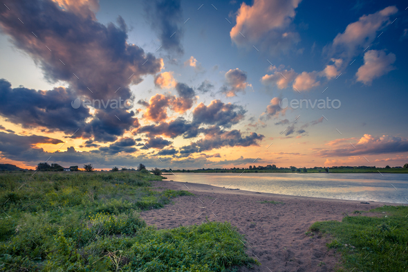 Rhine river bank at sunset - Stock Photo - Images