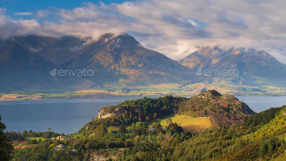 Lake Wakatipu with Mountains near Queenstown New Zealand - Stock Photo - Images