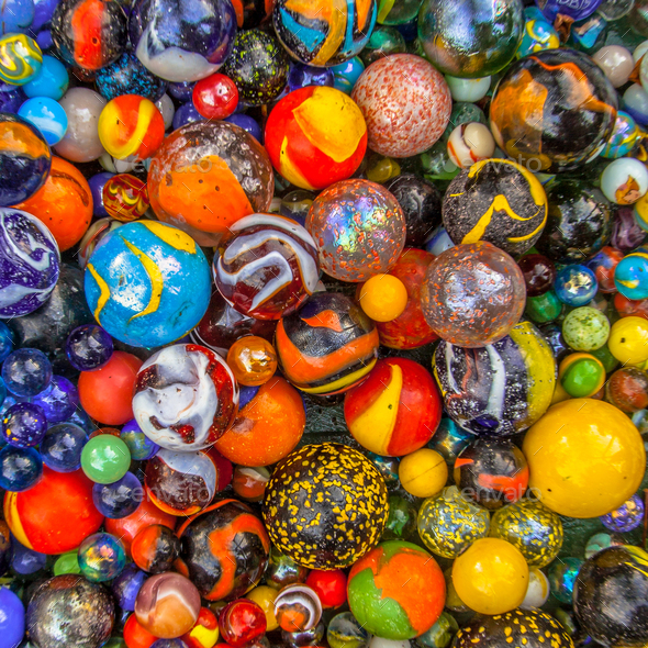 colored glass marble multicultural community concept - Stock Photo - Images