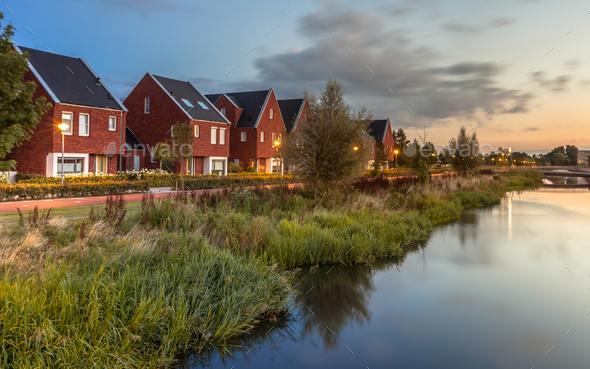 Modern Eco friendly suburban street - Stock Photo - Images