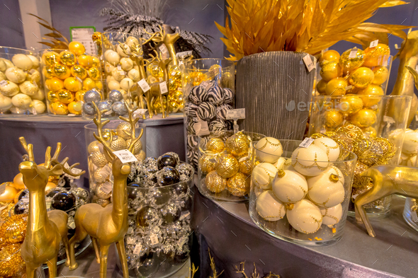 Balls and decoration in golden colors - Stock Photo - Images