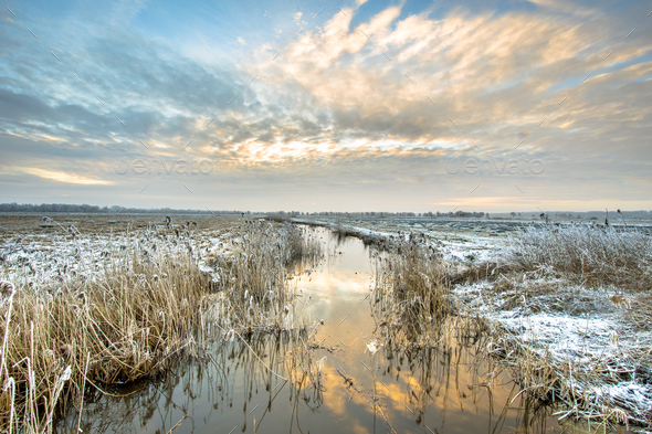 Frozen river Drentsche Aa in northern part of the province of Dr - Stock Photo - Images