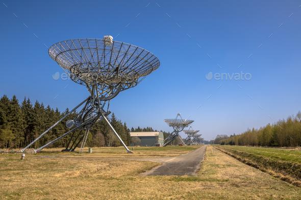 Row of radio telescopes - Stock Photo - Images