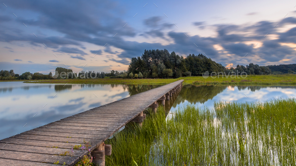 footbridge concept with long exposure - Stock Photo - Images