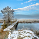 Footbridge over Frozen canal in  the province of Drenthe - PhotoDune Item for Sale