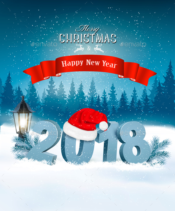 GraphicRiver Happy New Year 2018 Background with Presents 21164447